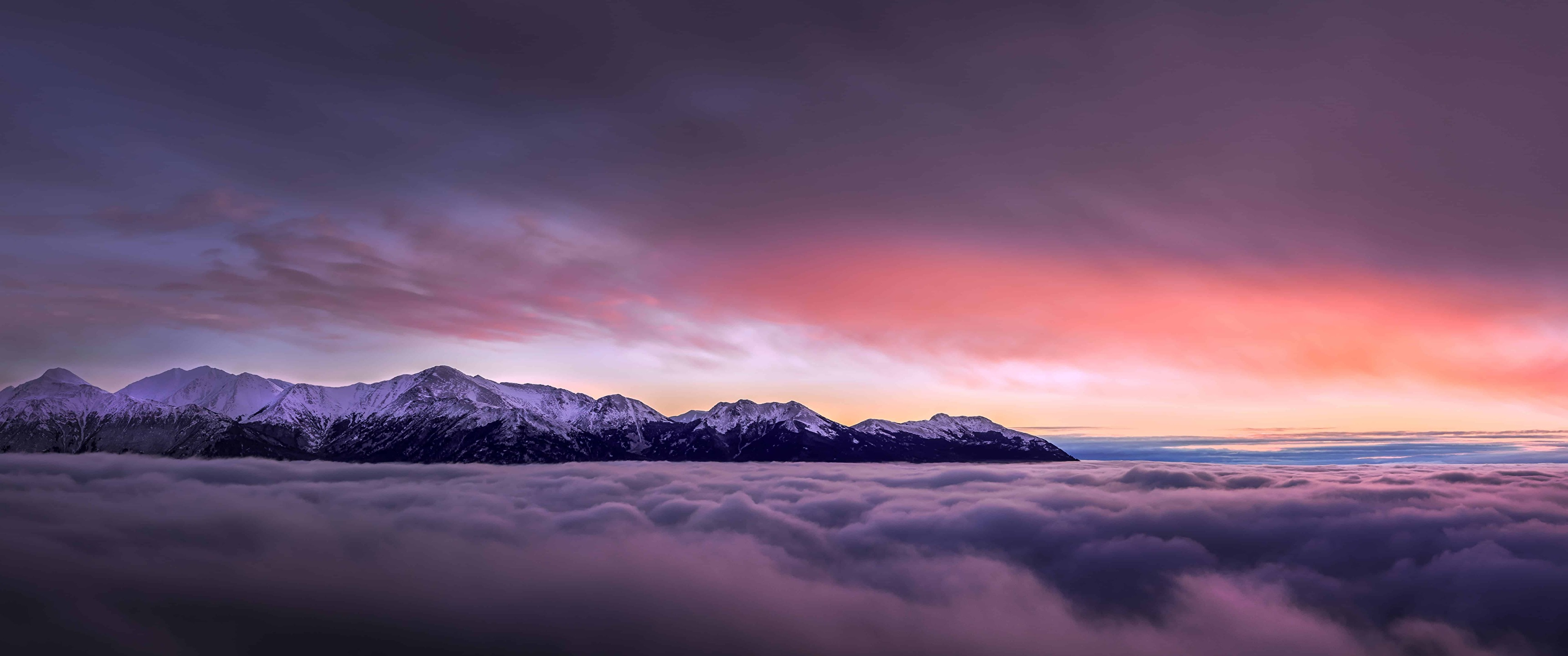 Sunset With Mountains Above Clouds Wallpapers