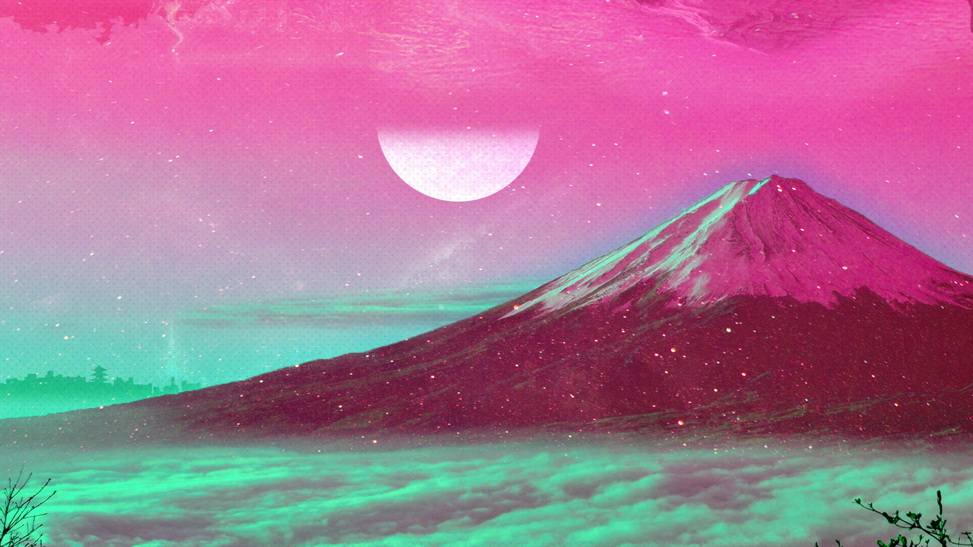 Vapourwave Styled Mount Fuji [1920-1080] : Wallpapers